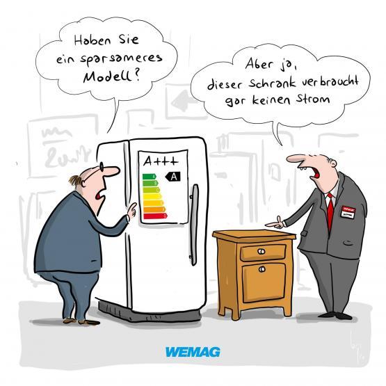 """WEMAG Comic """"Haben Sie ein sparsameres Modell?"""" """"Aber ja, dieser Schrank verbraucht gar keinen Strom"""" Comic @Mario Lars"""