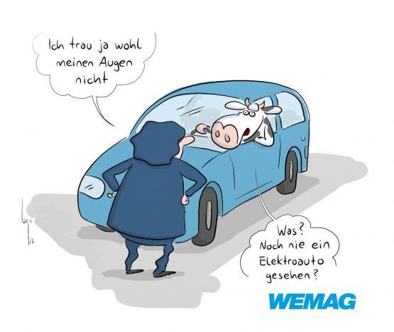 WEMAG Comic - Kuh im Elektroauto - Ich trau ja wohl meinen Augen nicht