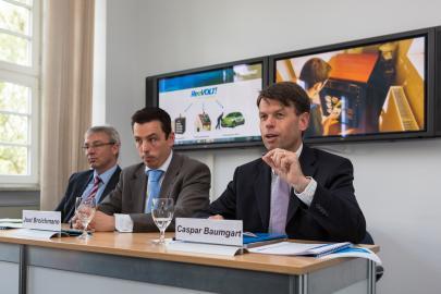 Thomas Pätzold, Jost Broichmann und Caspar Baumgart bei der Pressekonferenz
