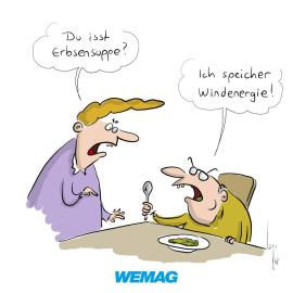 Stromcartoon Erbsensuppe