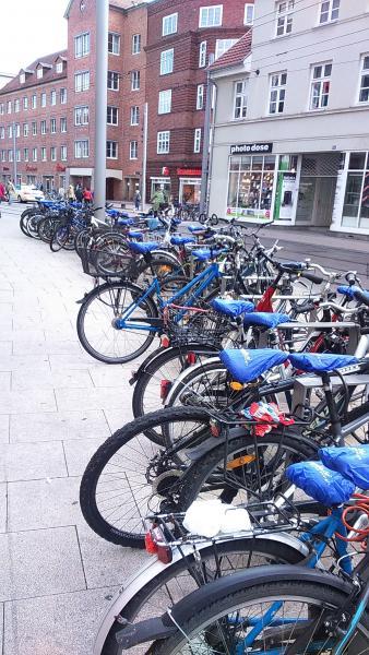 Viele Fahrräder wurden an diesem Tag auf dem Marienplatz bezogen