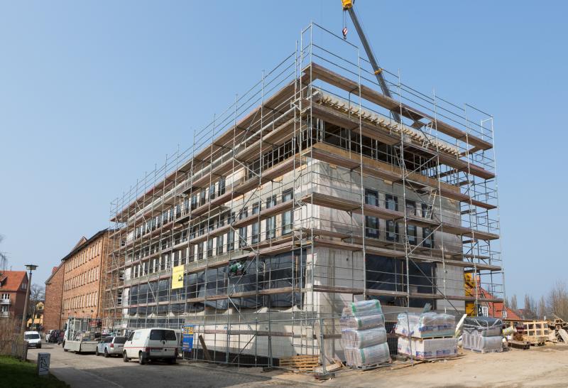 Der Rohbau des neuen Verwaltungsgebäudes