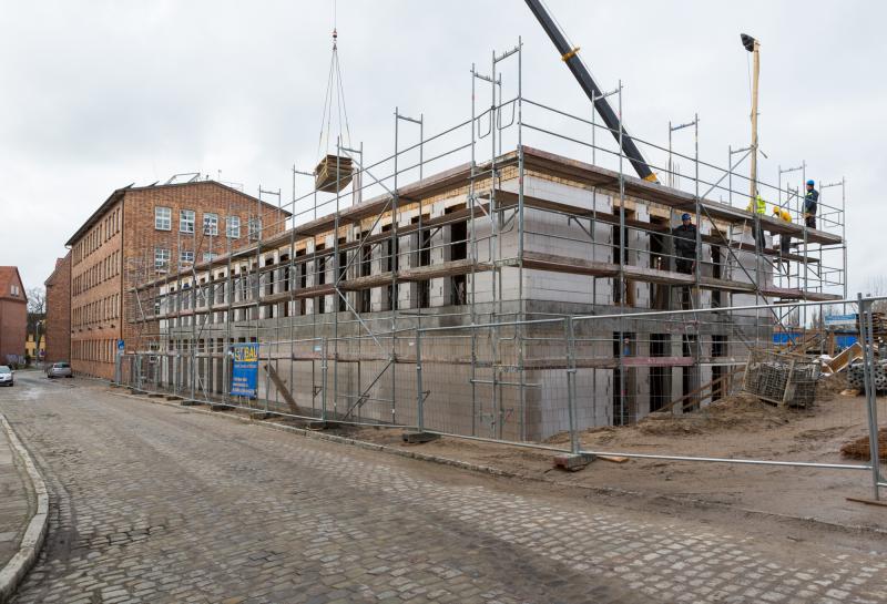 Bau des neuen Verwaltungsgebäudes der WEMAG in Schwerin