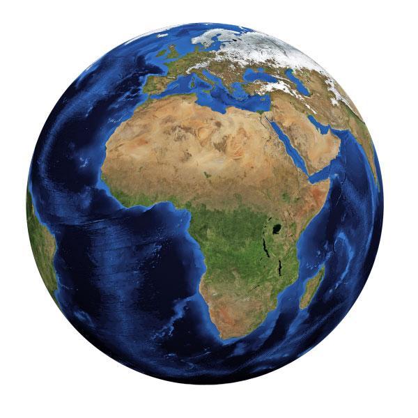 Die Erde mit Ansicht auf Afrika und Europa