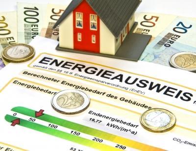 Energieausweis mit Euro Scheinen und Münzen drauf