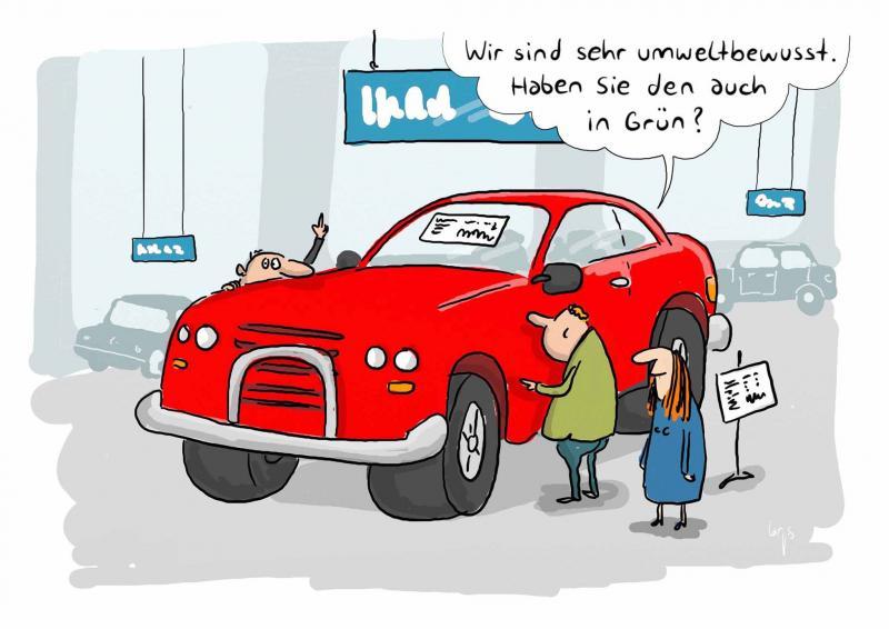 WEMAG Comic - umweltbewusstes Auto fahren - haben Sie das Auto auch in grün?