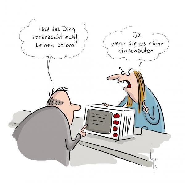 WEMAG Comic von Mario Lars - Strom sparen durch ausschalten der Mikrowelle