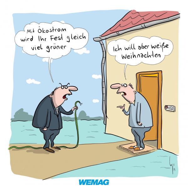 Comic von Mario Lars: Mit Ökostrom  wird Ihr Fest gleich noch viel grüner. Ich will aber weiße Weihnachten