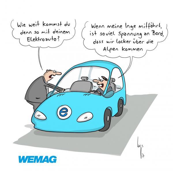 WEMAG Comic - Elektroauto Reichweite dank Inge bis über die Alpen