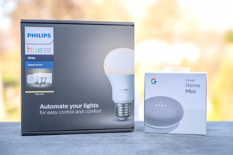 Philips Hue White E27 Starter Kit (3 Lampen, Bridge + Dimmschalter) + Google Home Mini