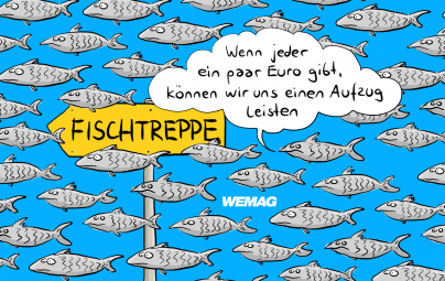 "Titel-Cartoon ""Butter bei die Fische. Die neue WEMAG-Crowd. Cartoonist: Mario Lars"
