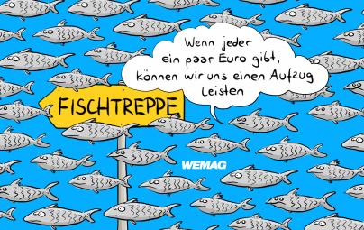"""Titel-Cartoon """"Butter bei die Fische. Die neue WEMAG-Crowd. Cartoonist: Mario Lars"""