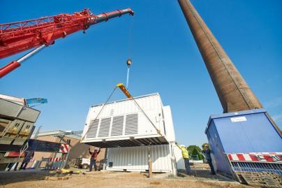Aufbau des Elektrolyseurs in Frankfurt am Main