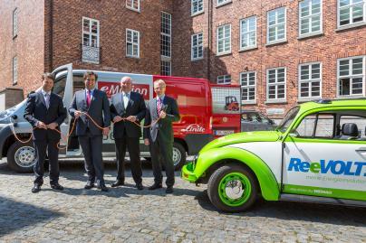 Caspar Baumgart, Maik Manthey, Raymond See und Thomas Pätzold setzen auf E-Transporter