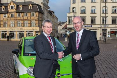 WEMAG-Vorstand Thomas Pätzold und Energieminister Christian Pegel auf dem Energieforum