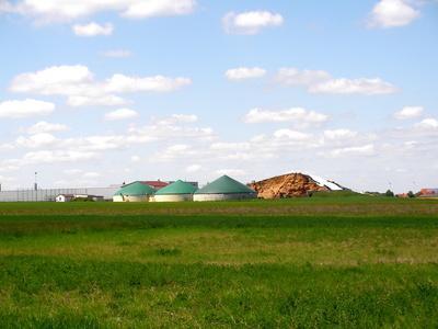 Eine Biogasanlage mit grünen Dächerm  in der Entfernung zwischen grünen Wiesen und blauem Himmel mit ein paar Wolken.